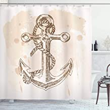 Ambesonne Anchor Shower Curtain, Illustration of Anchor and Rope on Stained Background Navy Summer Holiday Print, Cloth Fabric Bathroom Decor Set with Hooks, 84 Long Extra, Brown Cream
