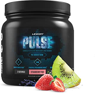 Legion Pulse Pre Workout Supplement - All Natural Nitric Oxide Preworkout Drink to Boost Energy & Endurance. Creatine Free, Naturally Sweetened & Flavored, Safe & Healthy. Strawberry Kiwi, 21 Serving