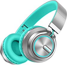 Wireless Headphones 20 Hrs w/Romantic LED Light, HiFi Stereo Picun Bluetooth Headphones Over Ear w/Deep Bass/HD Mic/Bag, Protein Earpads, Foldable, TF Card/Wired Mode for PC TV Cellphone (Grey/Mint)