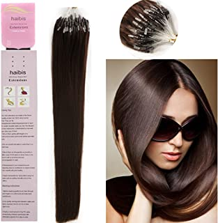 haibis 16''-22'' Straight Micro Loop Remy Human Hair Extensions with Double Silicone Ring Beads Tipped 1g/s 100s(18'',#02 Dark Brown)