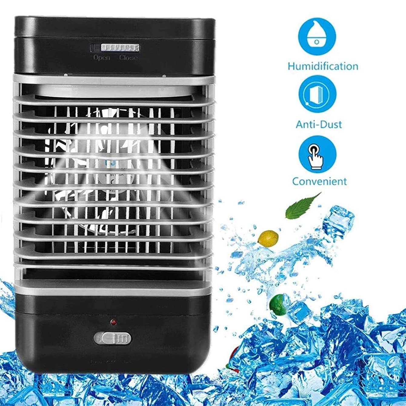 Portable space air fan cooler desktop air conditioner 3 In 1 Small cool air conditioner,Home water Humidifier & Purifier With 2 Speeds For Quick Office Bedroom Outdoor