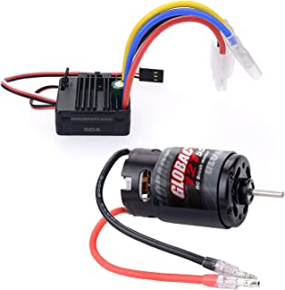 Globact RC 550 12T Brushed Motor 60A Brushed ESC 5V/2A BEC for 1/10 RC Scale Electric Short Course Truck car Traxxas Slash...