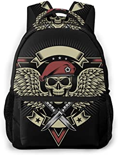 """Multifunctional Casual Backpack,Fashion Trend Knapsack,Cute Backpack11.5 X 16"""""""""""""""" X 8""""""""""""""""-Military Skull Patch Beret Emble..."""