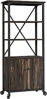 Sauder 423975 Steel River Bookcase with Doors, Carbon Oak Finish