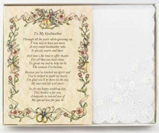 Wedding Handkerchief Poetry Hankie (For Bride's Godmother) White, Lace Embroidered Bridal Keepsake, Beautiful Poem | Long-Lasting Memento for the Bride's Godmother | Includes Gift Storage Box
