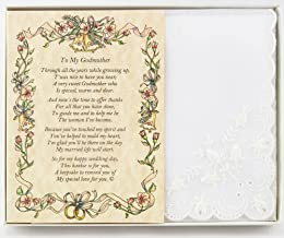 Wedding Handkerchief Poetry Hankie (For Bride's Godmother) White, Lace Embroidered Bridal Keepsake, Beautiful Poem   Long-Lasting Memento for the Bride's Godmother   Includes Gift Storage Box