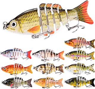 ZWMING Swimbaits,Lifelike Multi Jointed Fishing Lures Segment Swimbait,3D Eyes,Freshwater Saltwater Fishing Baits