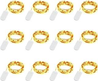 LEDIKON 12 Pack Fairy Lights Battery Operated LED String Lights,Warm White,7.2Ft 20LED Copper Wire String Lights,Waterproof Led Firefly Moon Lights for Wedding Mason Jars Teepee Christmas Decorations