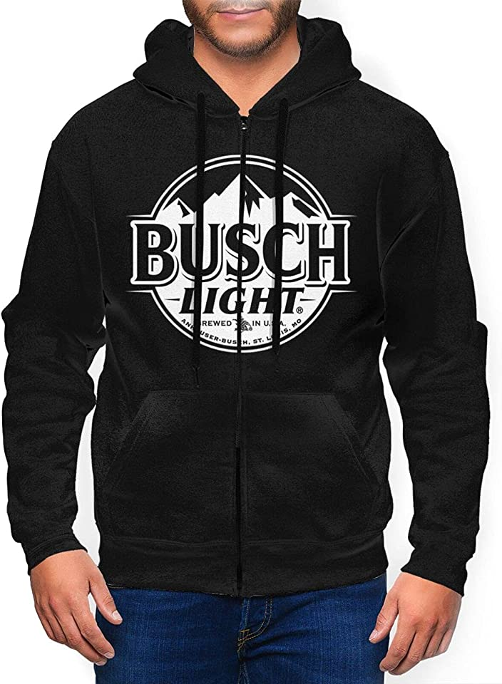 Bu-Sch Light Beer Sweatshirt Full Zip Pullover Hoodie Long Sleeve Graphic Hoodie Retro Printed Shirt