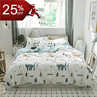 BuLuTu Dinosaur Kids Bedding Sets Twin Cotton White,3 Pieces Premium Soft Reversible Dino Forest Print Teen Boys Girls Twin Duvet Cover Set Cotton with Zipper Closure and Ties,NO Comforter