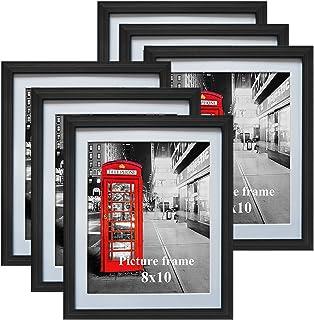 Eono Amazon Brand Cadres Photo Noirs 20x25 CM avec Verre et Passe-Partout Blanc, à Suspendre ou à Poser, Lot de 6