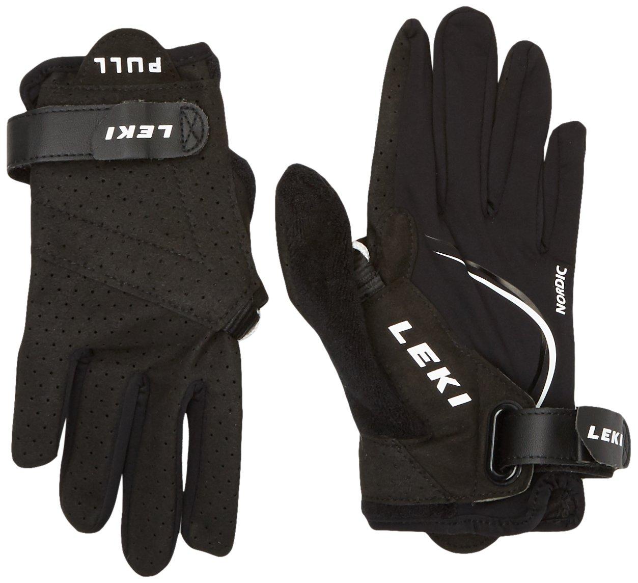 LEKI Nordic Lite Shark Long Handschuhe, Black/White, XS