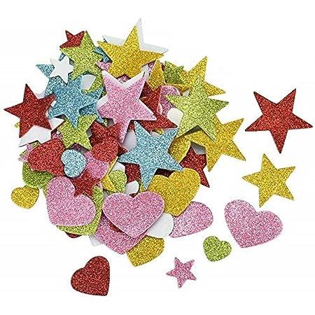 KLYNGTSK 200 PCS Pegatinas con Purpurina Autoadhesivo Pegatina de Espuma Brillo Pegatinas de Estrellas Corazones para Niños DIY, Decoraciones de Bodas, Aniversarios (Multicolor)