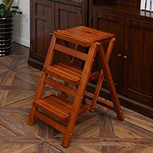 Household Step Stool  Photography Folding Step Stool  Wooden Ladder Folding Brown Multifunction Stairs Stepping Space Saving