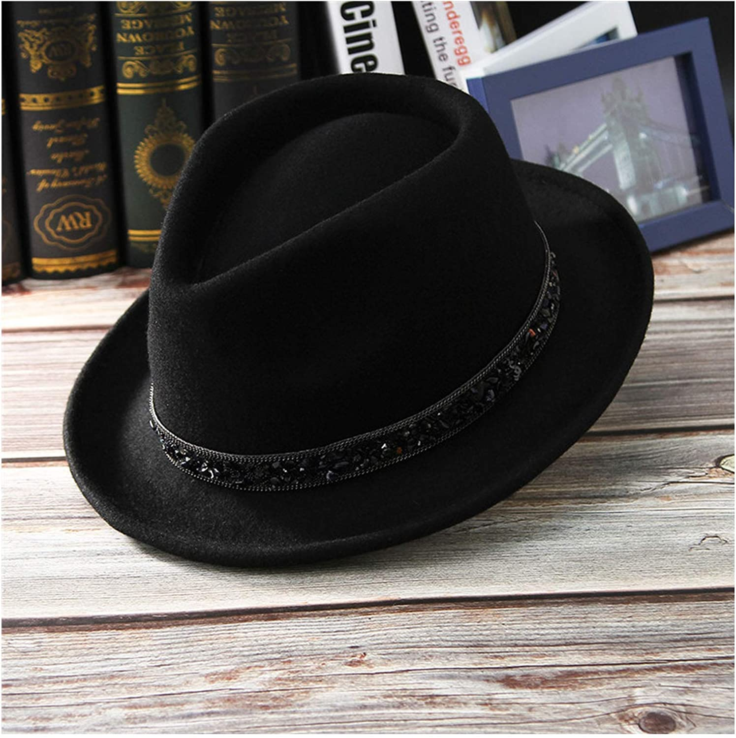 Dreamstar Men Jazz Cap Unisex Fedoras 100% Wool Felt for Male Women Rhinestone Belt Narrow Brim Jazz Top Hat with Box