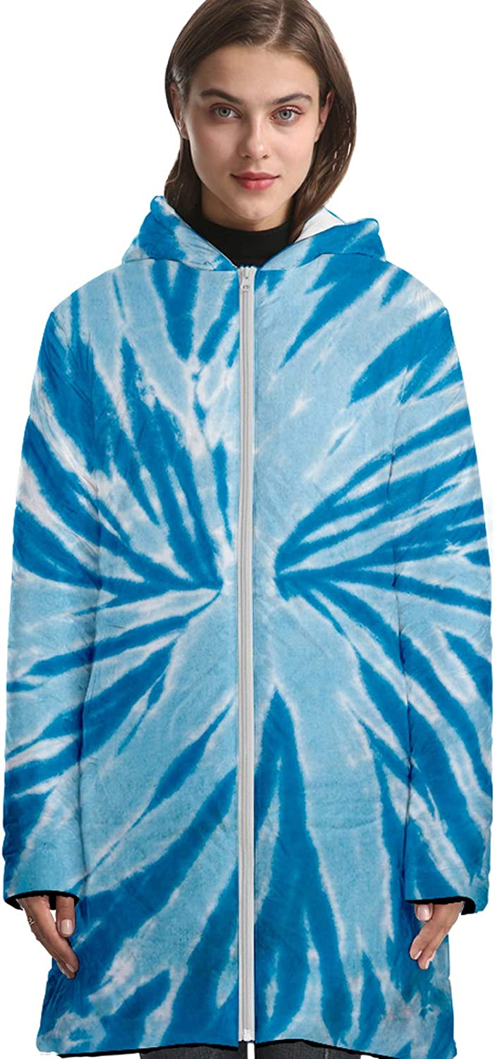 URVIP Unisex Oversized 3D Printed Tie-Dyed Long Down Jacket Hooded Puffer Coat