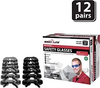 BISON LIFE Keystone Series Safety Glasses | One Size, Color Protective Polycarbonate Lens - Black Temple, 6 Grey and 6 Black (12 pairs in 1 box)