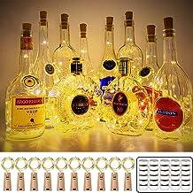 Wanxida Flessenlichtsnoer, 16 stuks, 20 leds, 2 m, glas, kurk, licht, lichtketting voor flessen, voor buiten/binnen, decor...