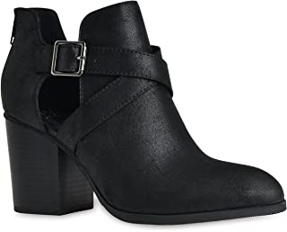 Women's Buckle Cut Out Criss Cross Wooden Chunky Stacked High Heel Zip up Ankle Booties High Heel Boots by LUSTHAVE