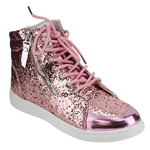 d1be5c745e Forever Link Womens Hi Top Glitter Lace Up Ankle Booties Fitness Trainer  Fashion Sneakers