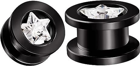 BIG GAUGES Pair Screw Black Anodized Clear Crystal Piercing Jewelry Ear Stretching Lobe Plug Tunnel Earring