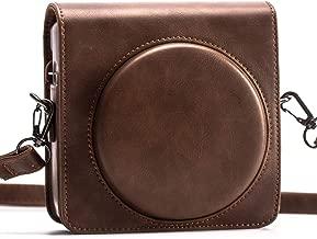 HelloHelio Protective Case for Fujifilm instax Square SQ6 Instant Camera, Blush Gold - Premium Vegan Leather Case with Detachable Strap, Vintage Browm