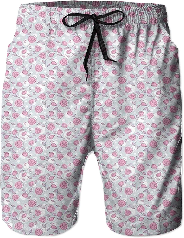 NC Men's Swim Trunks Funny Board Short Quick Dry Pants Hawaiian Beachwear w/Pocket,Hand Drawn Sketch Flower Arrangement with Pastel XL