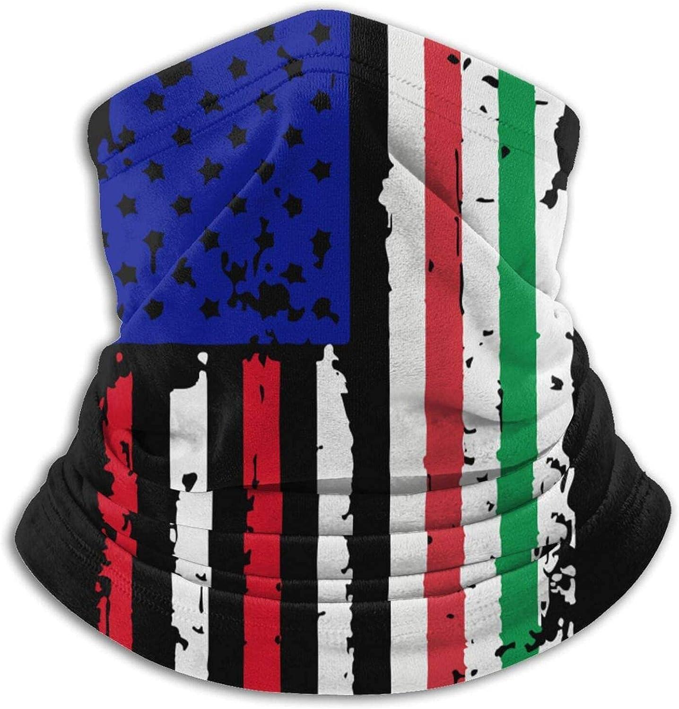 Italian American USA Flag Pride Face Cover Reusable Multi-Functional Bandana Sun Dust Protection Neck Gaiter Lightweight Microfiber Neck Warmer Black