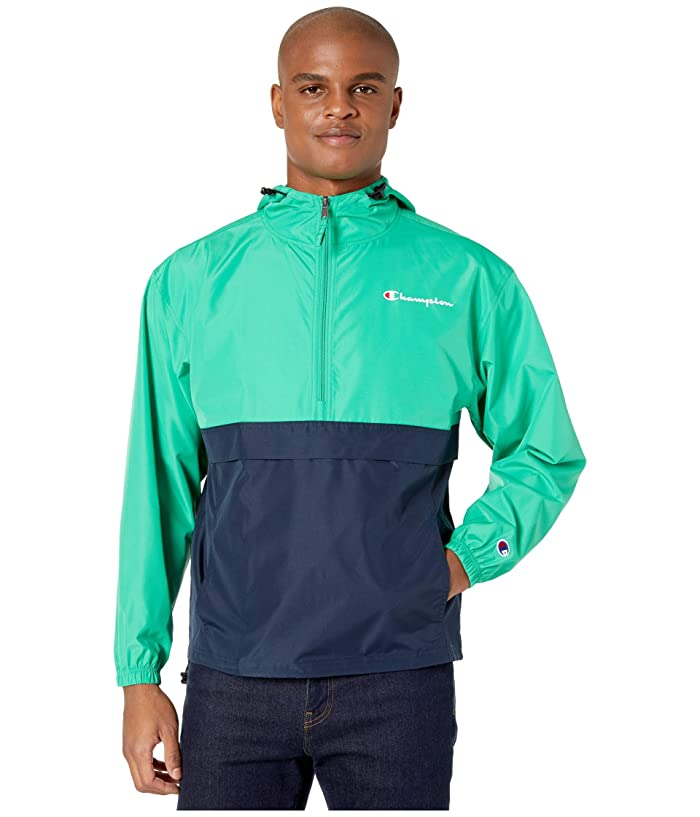 Champion  Colorblocked Packable Jacket (Green Myth/Navy) Mens Clothing