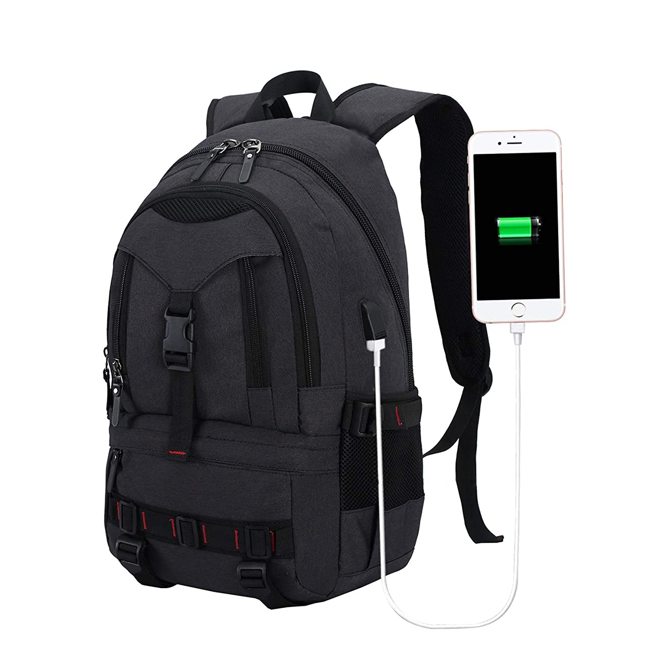 Business Travel Laptop Backpacks with USB Charging Port for Men Womens Boys Girls, Anti-Theft Water Resistant College School Bookbag Computer Backpack Fits 15.6 Inch Laptop & Notebook