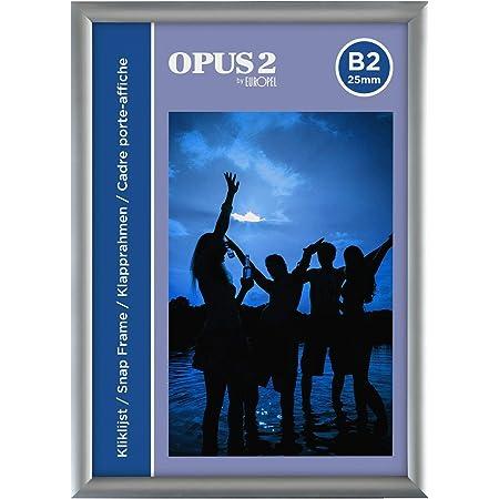 OPUS 2 Cadre Snap B1, 25 mm, Fabrication en aluminium anodisé et couche anti-éblouissement, pinces pour affichages de posters et publicités, Cadre de tableau d'affichage pour les murs