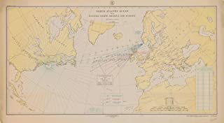 Map - North Atlantic Ocean With Eastern North America And Europe, 1918 NOAA Cartographic - Vintage Wall Art - 24in x 13in