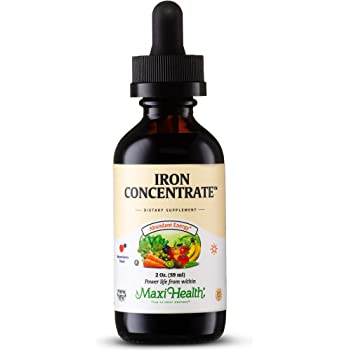 Maxi-Health Iron Supplement 15mg Per ML – Increase Energy and Blood Levels Without Nausea or Constipation – Liquid Iron Drops For Men, Women, And Kids – 2 oz. – Kosher Vitamin