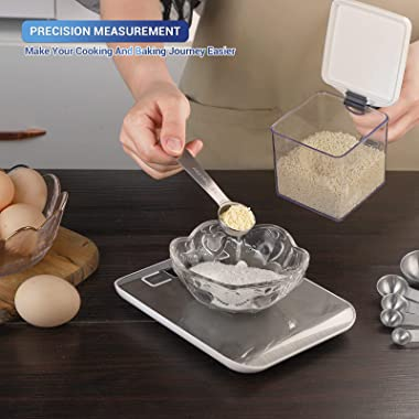 Food Scale, Measuring Cups And Spoons Set Of 10 Pcs, HOUSALE's 22 Lb/ 10 Kg Digital Kitchen Scale, Stainless Steel Spoons
