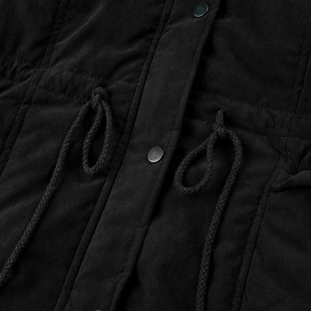 MORETIME Damen Mäntel, 2020 Neue Sale Damen Plüsch Winter Größe einfarbig Daunenmantel Langarm Reißverschlusstasche Mantel 2# Schwarz