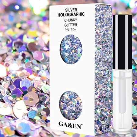 Silver Holographic Chunky Cosmetic Glitter Body Hair Face Eye Nail for Festival Carnival Concert Party Beauty Rave Accessories Different Sizes&Shapes ✮14g + Free Quick Dry Primer Glue Gel(5ml)