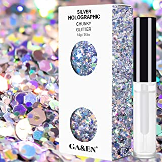 Silver Holographic Chunky Cosmetic Glitter Body Hair Face Eye Nail for Festival Carnival Concert Party Beauty Rave Accesso...