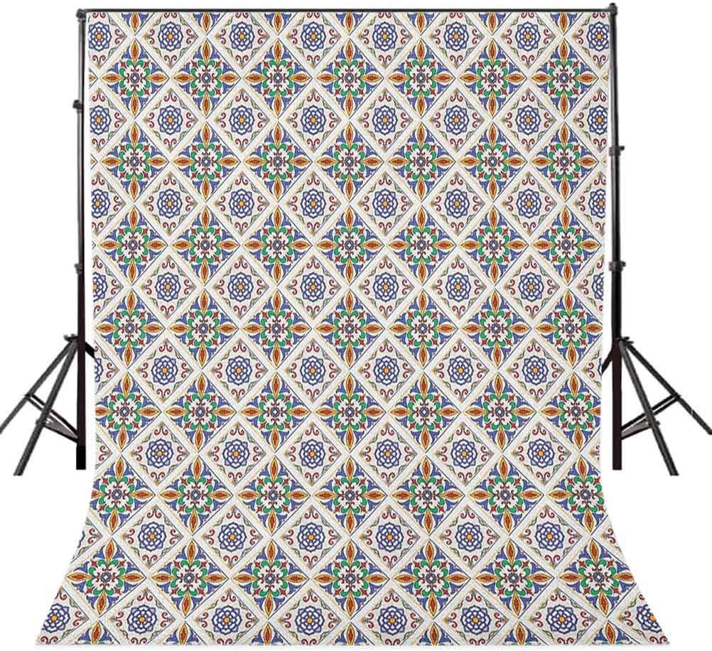 8x12 FT Geometric Vinyl Photography Background Backdrops,Azulejo Tile Art with Floral Elements and Geometric Stripes Vibrant Color Scheme Background Newborn Baby Portrait Photo Studio Photobooth Props