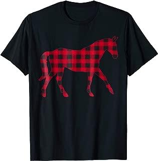 Red Plaid Horse Christmas Pajamas Buffalo Family T Shirt
