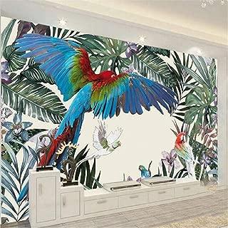 zrisic 3D Wallpaper Custom Wall Mural 3D Photo murals Nordic Hand Drawn Tropical Rainforest Plant Parrot Background Wall Paper Mural -250X170CM