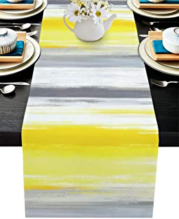 T&H XHome Dining Table Runner Dresser Scarf Linen Burlap Fabric,Abstract Art Grey Yellow Pattern Washable Table Runners 72...