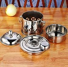 Shabu shabu Corte de acero inoxidable estufa de alcohol estufa bufé Inicio de picnic pequeño bote de alcohol, Cobre (Color : Silver)