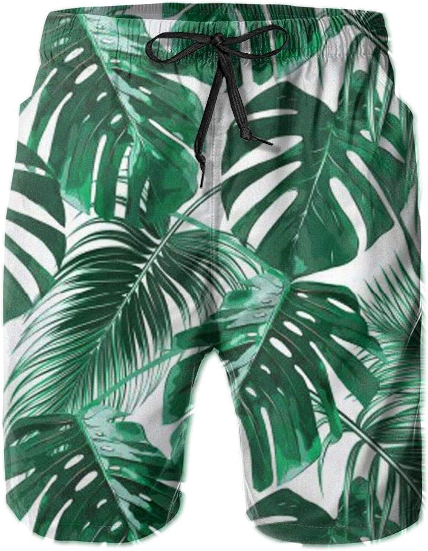Tropical Palm Leaves Mens Beach Shorts Quick Las 100% quality warranty! Vegas Mall Trunks Swim Dry S -