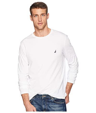 Nautica Solid Long Sleeve Tee (Bright White) Men
