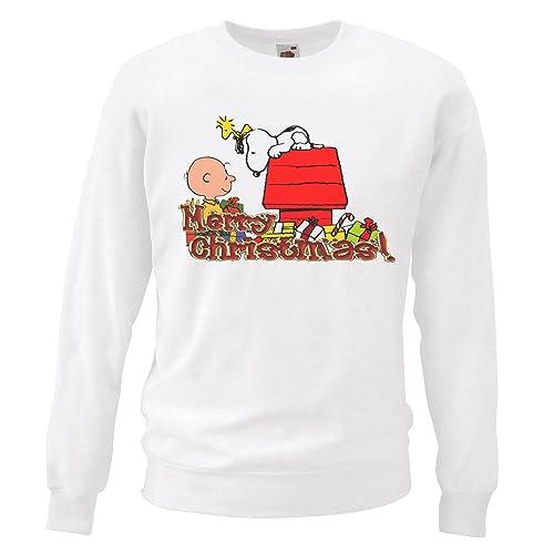 8abec19175 Adults White Snoopy   Charlie Brown Christmas Sweatshirt X-Mas Gift Idea