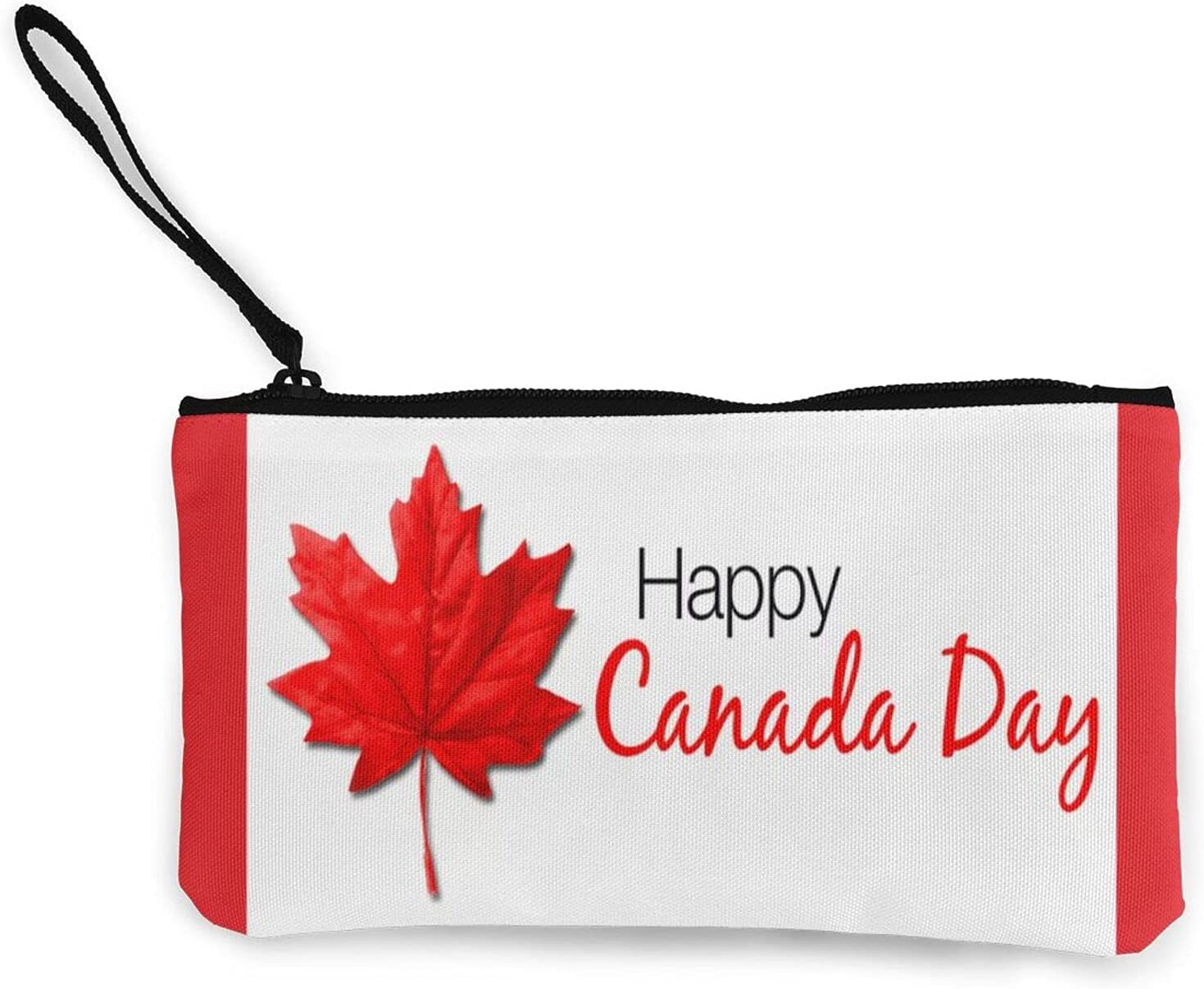 Happy Canada Day Multifunction Travel Toiletry Pouch Small Canvas Coin Wallet Bag Zipper
