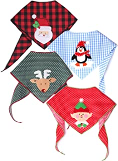 Tail Trends 4 Pack Christmas Dog Bandanas with Designer Appliques for Medium to Large Sized Dogs - 100% Cotton