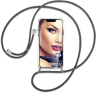 mtb more energy® Collar Smartphone para LG Q6 (M700N, 5.5'') - Gris Oscuro - Funda Protectora ponible - Carcasa Anti Shock con Cuerda