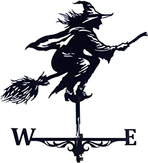CANAFA Weathervane Stainless Weather Windblown Decorations, Witch Metal Weathervane with Roof Mount, Steel Weather Vane Wi...