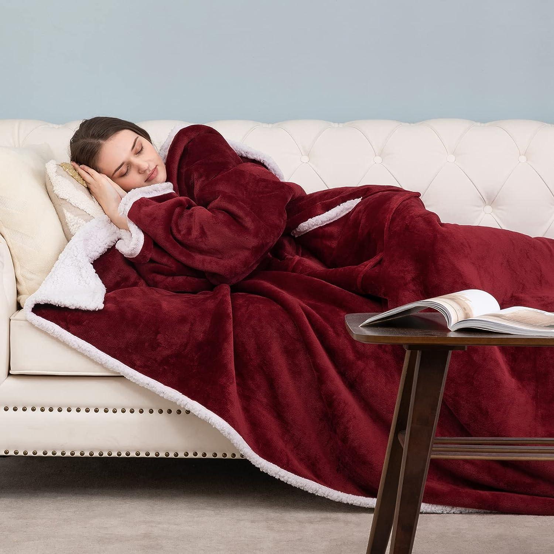 Manta con Mangas Invierno, Batamanta de Coralina con Bolsillo Frontal para Mujer Homre, Hoodie Blanket de Tejido Felpa Suave y Acogedor para Sofa
